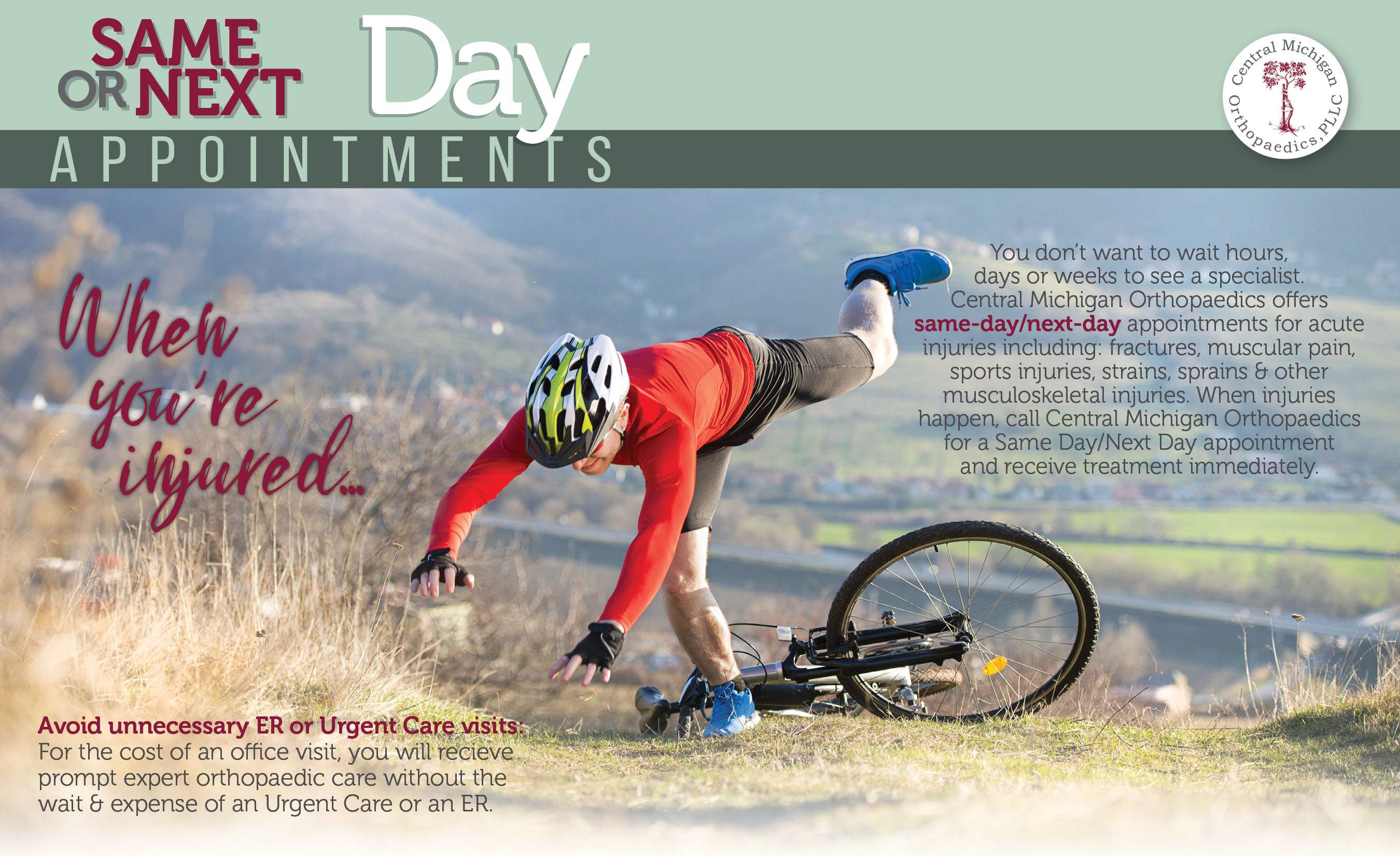 Same Day Appointments available at Central Michigan Orthopaedics